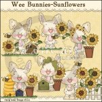 Wee Bunnies-Sunflowers